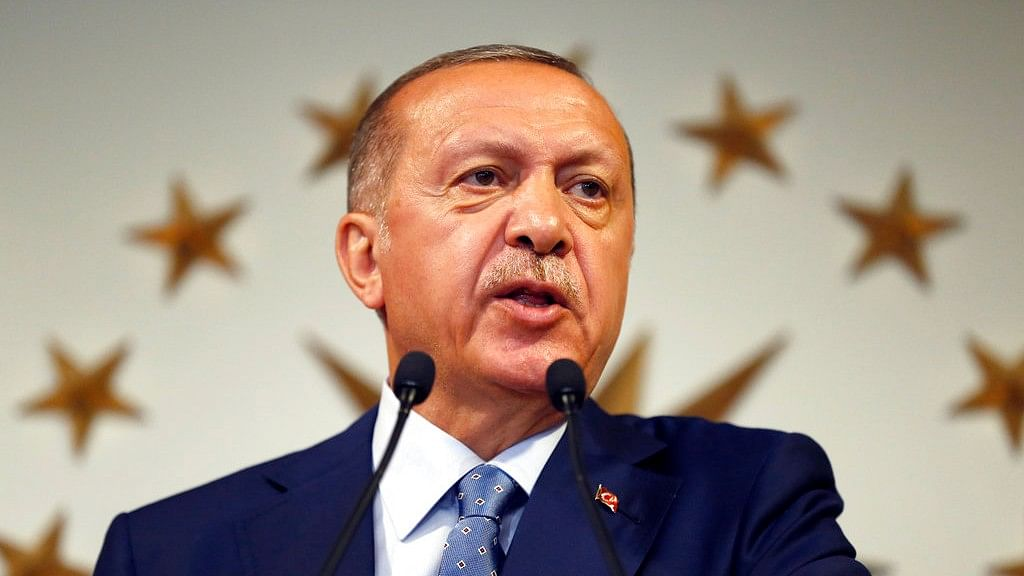 Turkey's President Recep Tayyip Erdogan delivers a statement on national television from his official residence in Istanbul on Sunday.