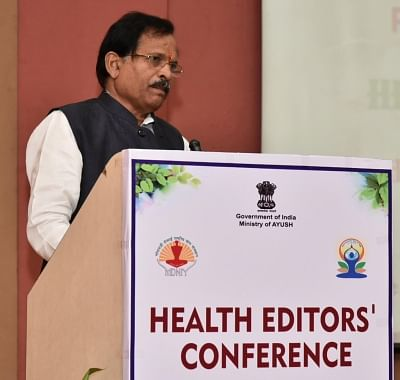 New Delhi: Union MoS AYUSH Shripad Yesso Naik addresses during National Health Editors