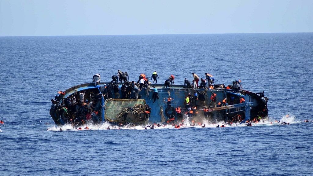 A migrant boat capsizing at sea. Image used for representational purpose only.