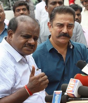 Bengaluru: Karnataka Chief Minister H.D. Kumaraswamy and Makkal Needhi Maiam chief Kamal Haasan jointly address a press conference, in Bengaluru on June 4, 2018. (Photo: IANS)