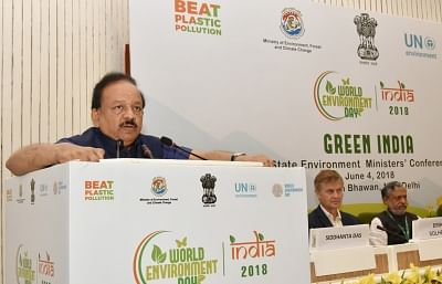 New Delhi: Union Earth Sciences and Environment Minister Harsh Vardhan addresses at the State Environment Ministers' Conference organised as part of the World Environment Day celebrations, in New Delhi on June 4, 2018. (Photo: IANS/PIB)