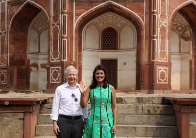 New Delhi: U.S. Ambassador to India Kenneth I. Juster and US Ambassador to the UN Nikki Haley during their visit to Humayun