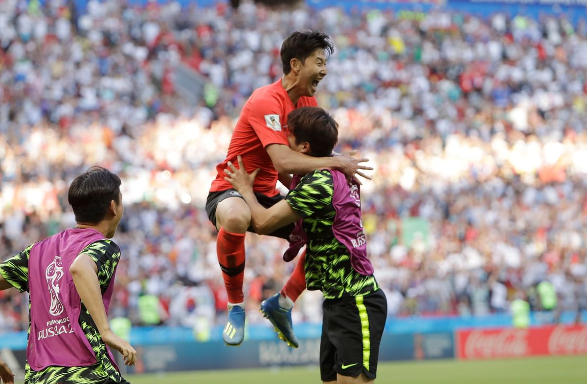 South Korea's Son Heung-min celebrates after scoring his side's second goal during their Group F match against  Germany at the Kazan Arena on Wednesday.