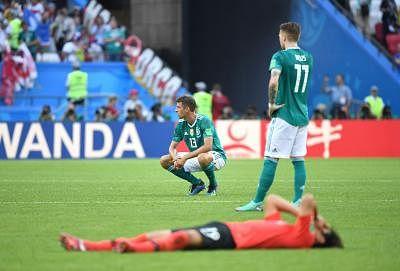 KAZAN, June 27, 2018 (Xinhua) -- Thomas Mueller (L) of Germany reacts after the 2018 FIFA World Cup Group F match between Germany and South Korea in Kazan, Russia, June 27, 2018. South Korea won 2-0. (Xinhua/Li Ga/IANS)