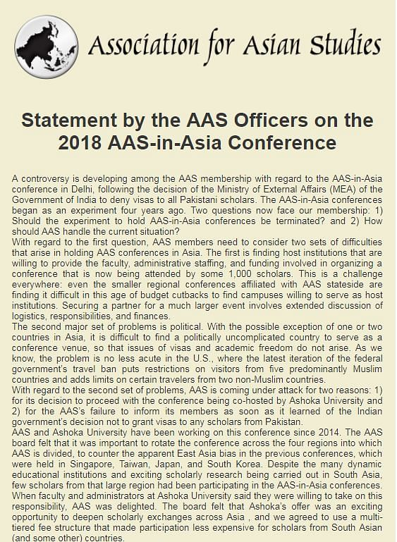 Scholars Agitated at AAS Over MEA's Decision to Bar Pak Scholars