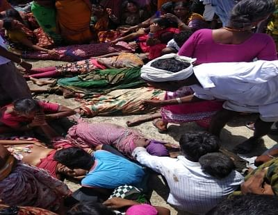 Yadadri: The bodies of the agriculture workers who were killed when the tractor they were travelling in plunged into Musi canal near Veligonda in Telangana