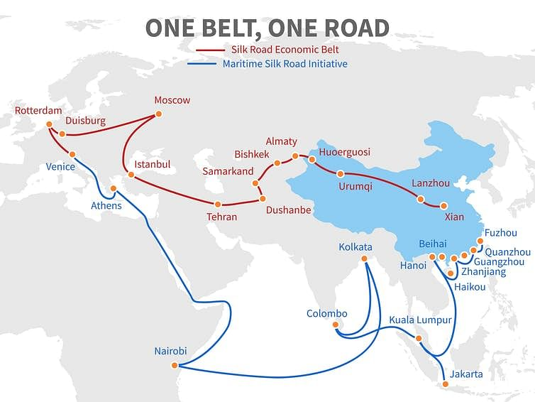 China's Belt and Road trade route.
