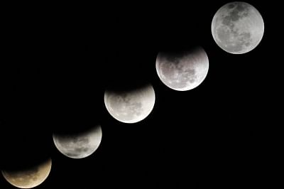 The longest total lunar eclipse of the 21st century would occur on July 27, with the celestial spectacle visible in its entiretyfrom all parts of India. (Xinhua/Ahmad Kamal/IANS)