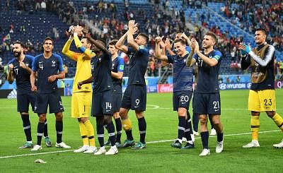 SAINT PETERSBURG, July 10, 2018 (Xinhua) -- Players of France greet the audience after the 2018 FIFA World Cup semi-final match between France and Belgium in Saint Petersburg, Russia, July 10, 2018. France won 1-0 and advanced to the final. (Xinhua/Li Ga/IANS)
