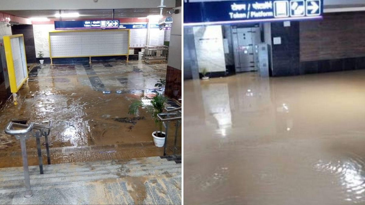 Rainwater leaks into Bhikaji Cama Place.