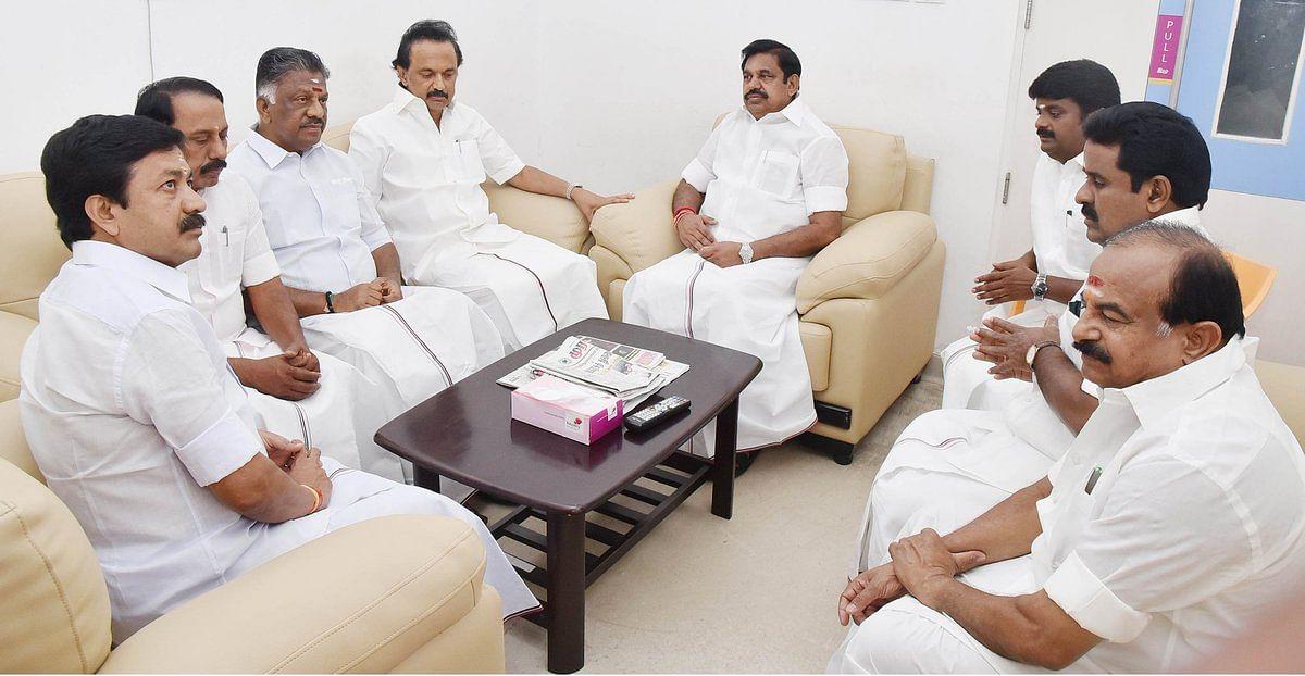 CM E Palaniswami with Deputy CM O Panner selvam visit MK Stalin.