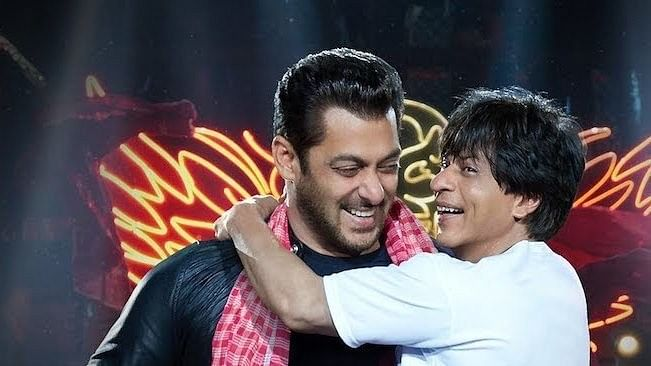 SRK and Salman Khan in a still from <i>Zero</i>.