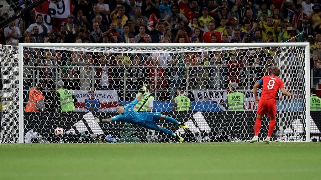 England's Harry Kane scores the first penalty during the shootout against Colombia in their Round of 16 match at the  Spartak Stadium on Tuesday.
