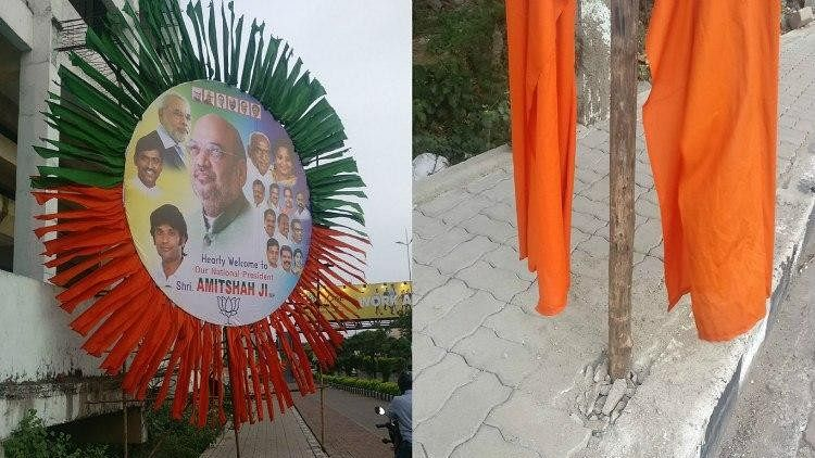 For Amit Shah's Welcome, BJP Damages Footpaths in Chennai