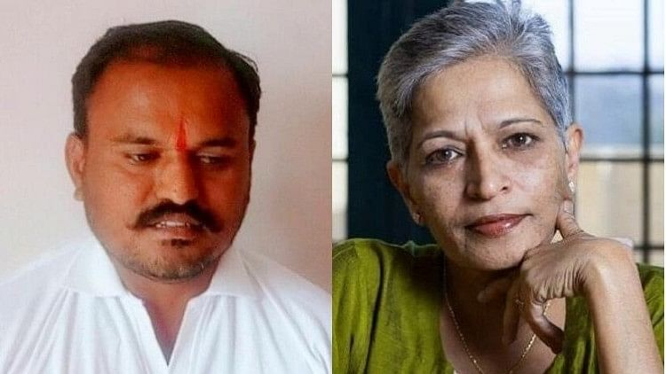 KT Naveen Kumar (left) is suspected to be the man behind the murder of journalist and activist Gauri Lankesh (right)  in Bengaluru.