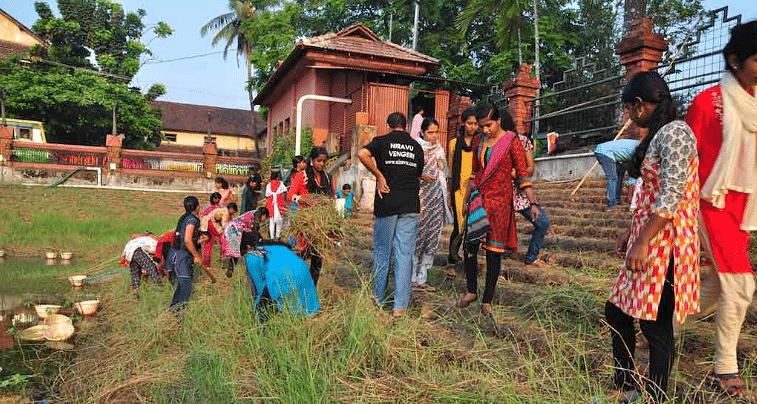 Volunteers cleaning the village pond