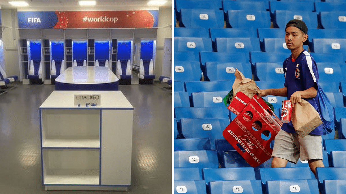 The Japanese dressing room after their match against Belgium (left) and a Japanese fan cleaning the stand.