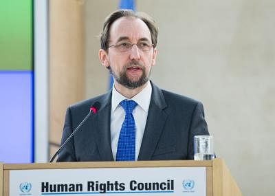 GENEVA, Feb. 27, 2017 (Xinhua) -- UN High Commissioner for Human Rights Zeid al Hussein delivers a speech at the opening of the 34th Human Rights Council (HRC) session in Geneva, Switzerland, Feb. 27, 2017.  (Xinhua/Xu Jinquan)(zf/IANS)