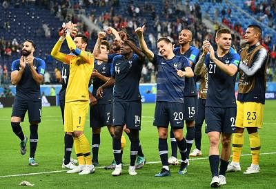 SAINT PETERSBURG, July 10, 2018 (Xinhua) -- Players of France celebrate victory after the 2018 FIFA World Cup semi-final match between France and Belgium in Saint Petersburg, Russia, July 10, 2018. France won 1-0 and advanced to the final.  (Xinhua/Li Ga/IANS)