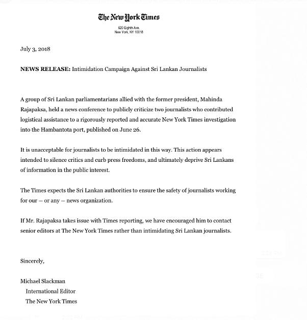 NYT Slams Rajapaksa for Hounding Journos Over Hambantota Report