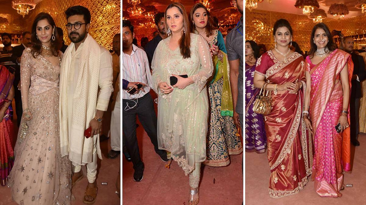 (L to R) Ram Charan and his wife Upasana, Sania Mirza, Pinky Reddy  poses with Sangita Reddy during Shriya Bhupal and Anindith Reddy's wedding ceremony.
