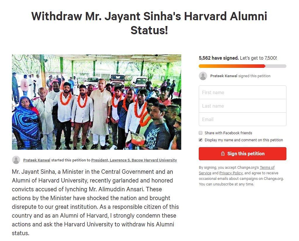 A screenshot of the petition started by a 2018 Harvard graduate, Prateek Kanwal.