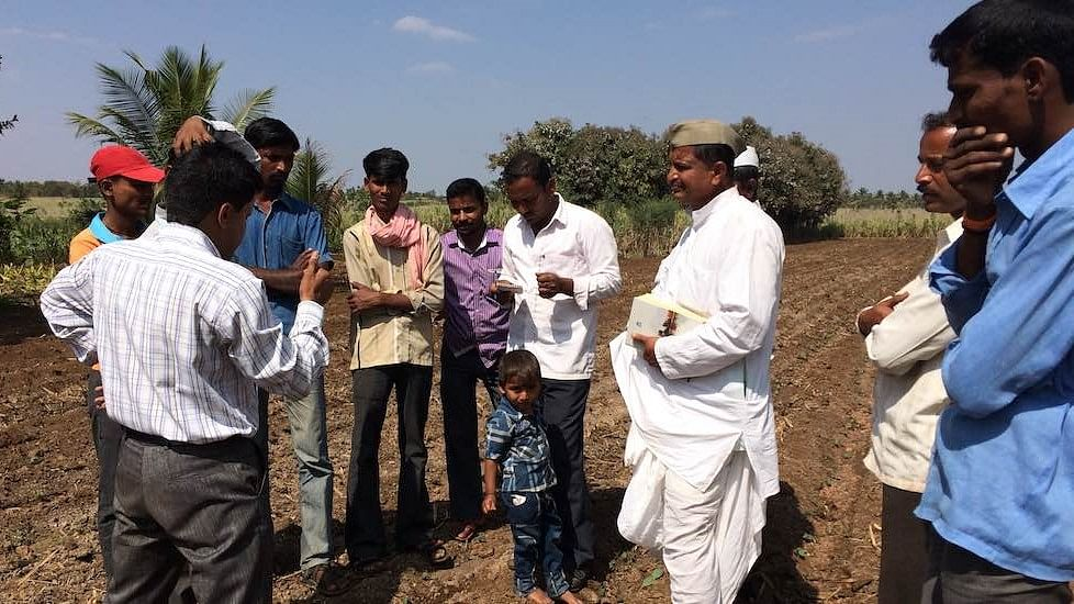 Farmers practicing zero budget natural farming at a field meeting in Belgaum district in Karnataka