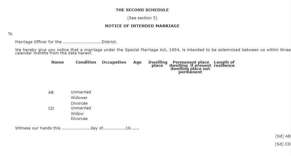 The format for the notice under Section 5 of the SMA
