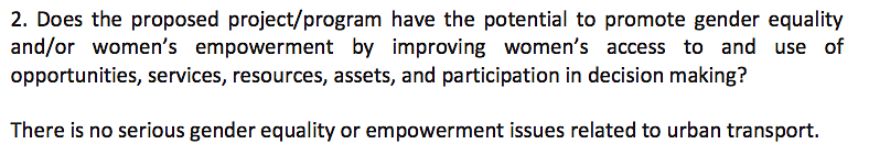 The Feasibility Report simply brushes aside the question of gender equality.