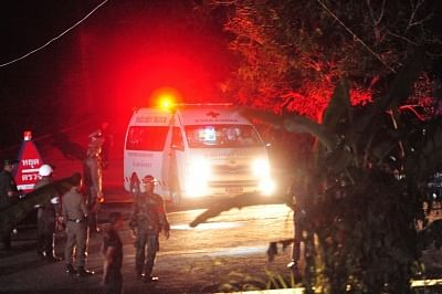 CHIANG RAI, July 9, 2018 (Xinhua) -- An ambulance taking the eighth rescued boy moves to a local hospital in Chiang Rai, Thailand, July 9, 2018. Eight boys have been saved and emerged by Monday evening from a flooded cave where 12 boys and their soccer coach were trapped for more than two weeks. (Xinhua/Rachen Sageamsak/IANS)