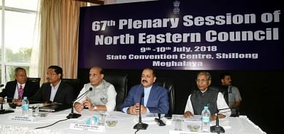 Shillong: Union Home Minister Rajnath Singh chairs the 67th Plenary Session of the North Eastern Council (NEC) along with Union MoS North Eastern Region Jitendra Singh, Meghalaya Governor Ganga Prasad and Chief Minister Conrad Sangma, in Shillong on July 10, 2018.(Photo: IANS/PIB)