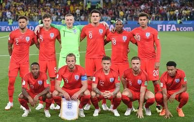 MOSCOW, July 3, 2018 (Xinhua) -- Players of England pose for a group photo prior to the 2018 FIFA World Cup round of 16 match between England and Colombia in Moscow, Russia, July 3, 2018. (Xinhua/He Canling/IANS)