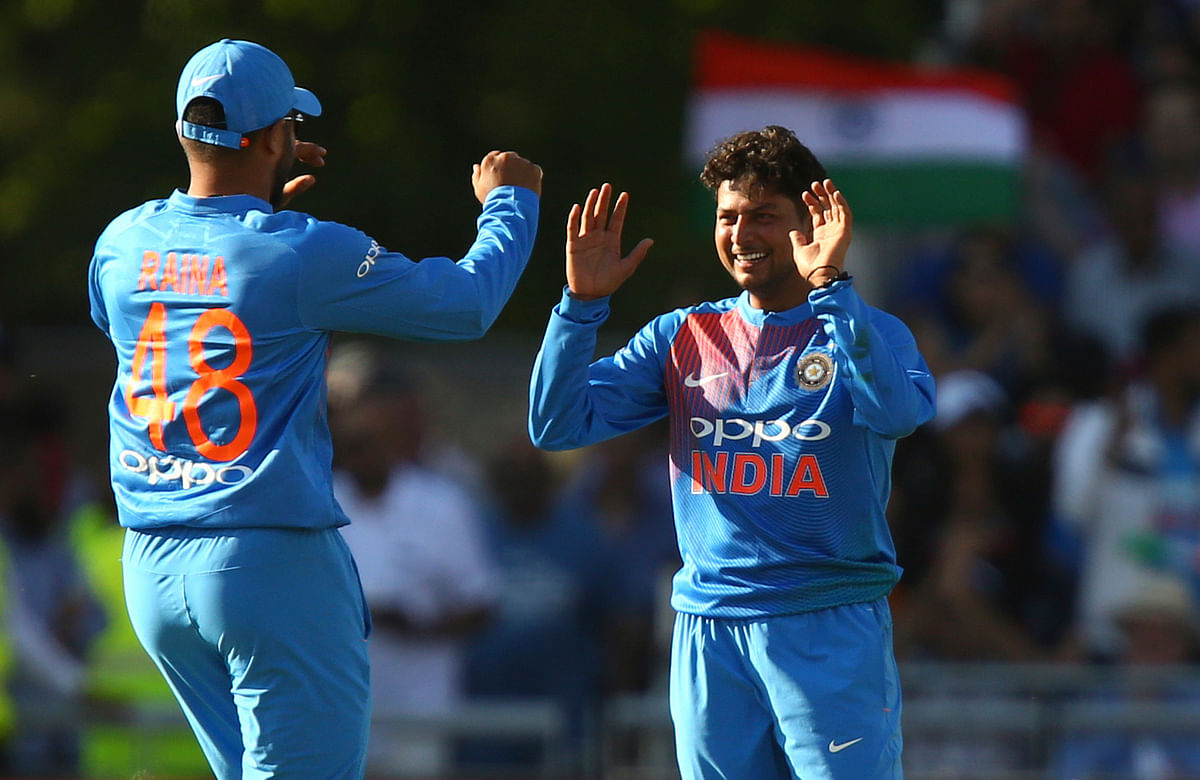 Kuldeep Yadav celebrates a wicket during the first T20 against England.