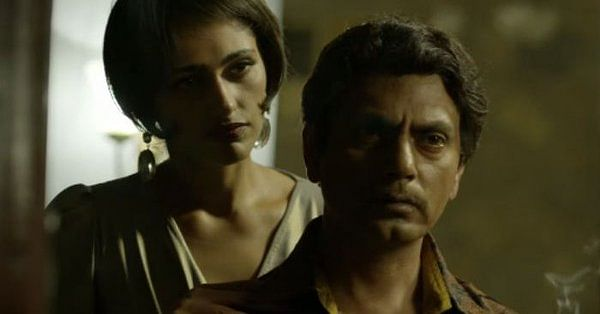 Kubbra Sait as Cuckoo and Nawazuddin as Ganesh Gaitonde in a still from <i>Sacred Games</i>.