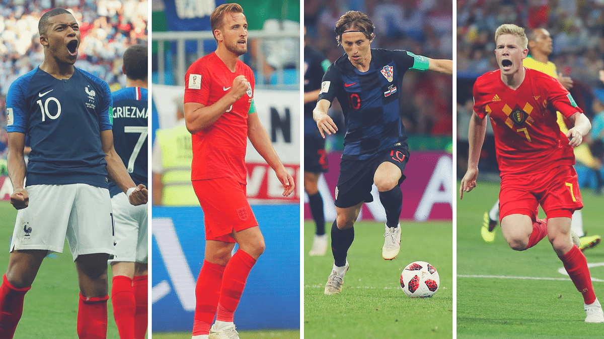 (From left)France's Mbappe, England's Harry Kane, Croatia's Luka Modric and Belgium's Kevin De Bruyne.