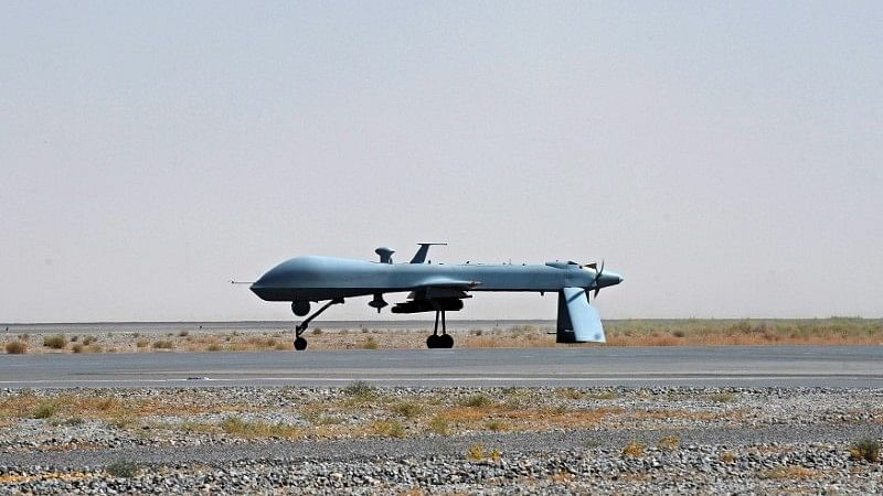 A US Predator unmanned drone armed with a missile stands on the tarmac of Kandahar military airport. Image used for representational purpose.