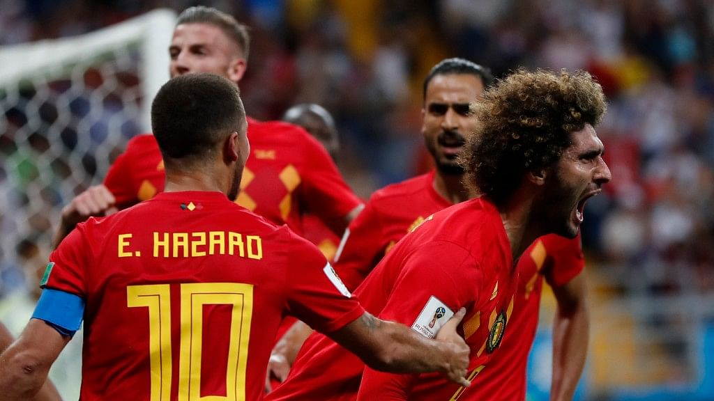 Belgium's Marouane Fellaini (right) celebrates with teammates after scoring his side's second goal during their Round of 16 match against Japan at the Rostov Arena on Monday.