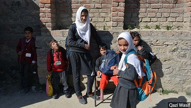 Students at the Zaiba Aapa Institute Of Inclusive Education, Bijbehara, Anantnag district. The school is run by disabled-rights activist Javid Ahmad Tak. Most schools in the valley are not disabled-friendly, with no ramps for wheelchairs, and no special educators trained to teach disabled students.
