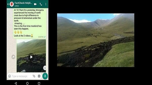Two unrelated videos showing different geological phenomena that took place in different countries at different times are being shared with a message that Mongolia experienced the 'earth's crust moving'.