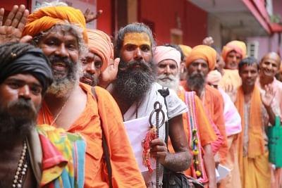 Jammu: Ascetics queue up to register themselves for Amarnath Yatra at Ram Mandir in Jammu on July 3, 2018. (Photo: IANS)