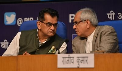 New Delhi: NITI Aayog Vice Chairman Rajiv Kumar and CEO Amitabh Kant during a press conference on the achievements of NITI Aayog in the last four years, in New Delhi on July 3, 2018. (Photo: IANS)
