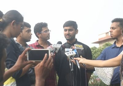 New Delhi: Krishna Reddy M, Romel Barel and Anwesh Pokkuluri - the three out of  a batch of 20 current and former students of Indian Institutes of Technology who had filed a petition against Section 377 of the Indian Penal Code that makes homosexuality a crime, talk to the media outside the Supreme Court, in New Delhi on July 10, 2018. (Photo: IANS)
