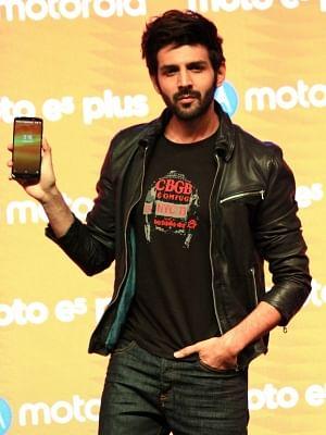 New Delhi: Actor Kartik Aaryan at the launch of Motorola Moto E5 Plus smartphone, in New Delhi on July 10, 2018. (Photo: Amlan Paliwal/IANS)