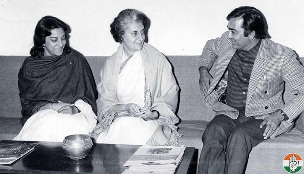 Nargis Dutt with then  Prime Minister Indira Gandhi and Sunil Dutt.