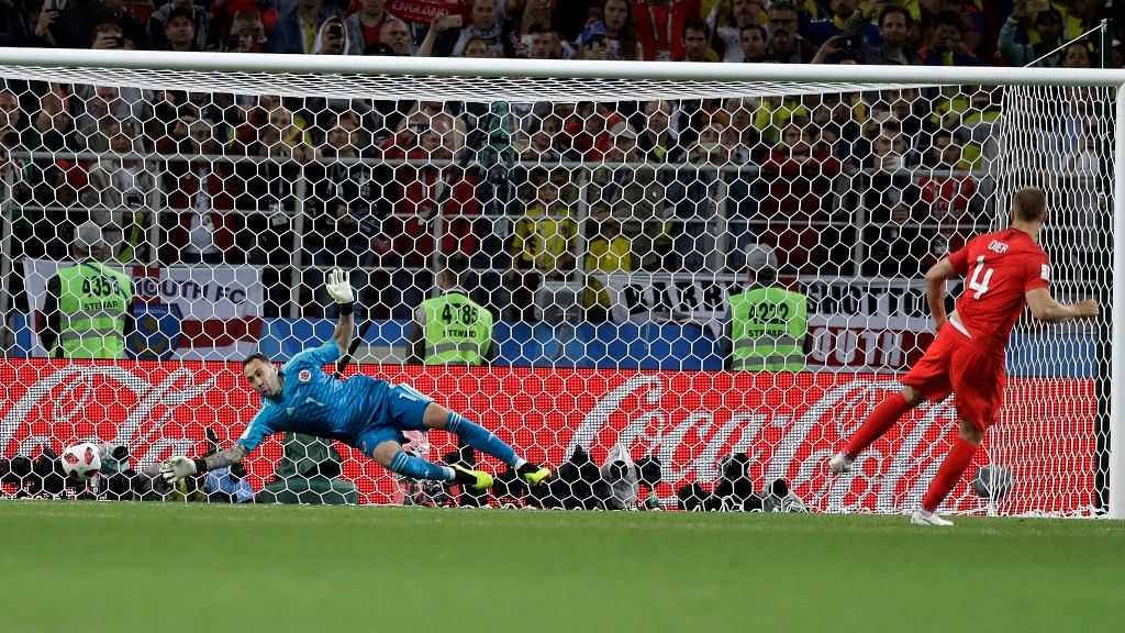 England's Eric Dier scores the wining penalty during their Round of 16 match against Colombia at the Spartak Stadium on Tuesday.