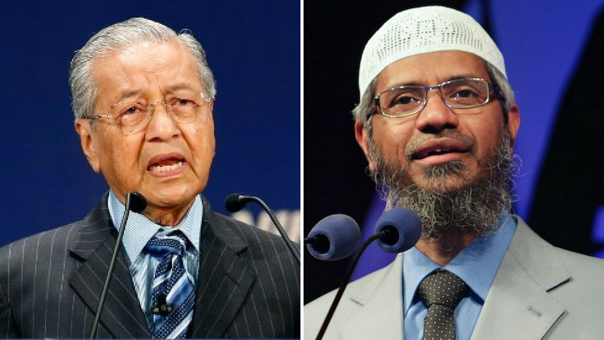 Malaysian PM Mahathir Mohamad and controversial Muslim priest Zakir Naik.
