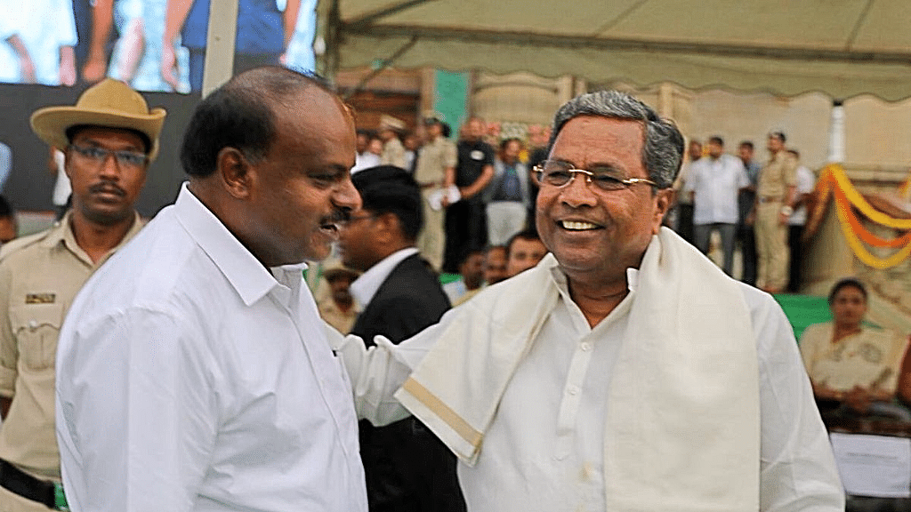 Karnataka's new chief minister HD Kumaraswamy with former CM Siddaramaiah.