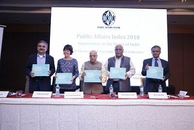 K Kasturirangan (centre) Chairman of Public Affairs Centre, Bengaluru, unveiling Public Affairs Index 2018 in Bengaluru.