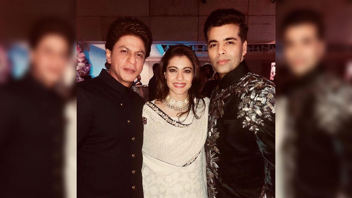 Shah Rukh Khan, Kajol, and Karan Johar at the Ambani wedding festivities.