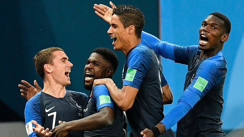 Samuel Umtiti (second from left) scored a header in the 51st-minute to put France ahead.